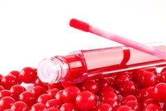 Lustre rojo del labio Imagenes de archivo