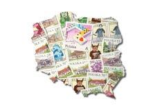 Lustre selos de porte postal na forma de Poland imagens de stock