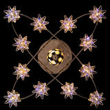 Lustre sensible des lampes d'étoile de couleur sur le noir Photographie stock