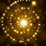 Lustro dorato con la scintilla che forma fondo a spirale Fotografia Stock Libera da Diritti