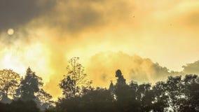 Lustro dorato del cielo comunque la nebbia sopra l'alta montagna Immagine Stock Libera da Diritti