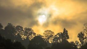 Lustro dorato del cielo comunque la nebbia sopra l'alta montagna Fotografie Stock
