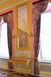 Lustro w Ciemnopąsowym salonie z Francuskimi makatami wewnątrz Obrazy Stock