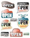 Lustroso abra sinais da loja ilustração do vetor