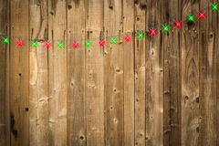 Lustrous Wooden Background with Green and Red Christmas Lights Stock Photography