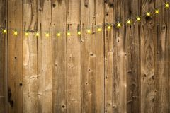 Lustrous Wooden Background with String of Lights royalty free stock photo