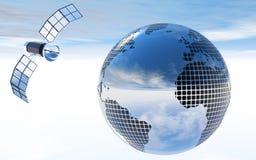 Lustrzana piłka lub kula ziemska z satelitą Fotografia Royalty Free
