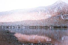 Lustrzana powierzchnia jezioro z pasmem górskim na horyzoncie Zdjęcia Royalty Free