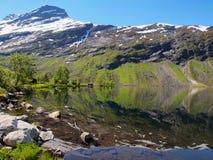 Lustrzana woda i pasmo górskie na lato słonecznym dniu Fotografia Stock
