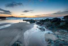 Lusty Glaze Beach at Newquay in Cornwall. Nightfall on Lusty Glaze beach at Newquay in Cornwall royalty free stock photography
