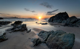 Lusty Glaze Beach at Newquay in Cornwall. Sunset at Lusty Glaze beach at Newquay in Cornwall stock photography