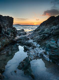 Lusty Glaze Beach at Newquay in Cornwall. Sunset at Lusty Glaze beach at Newquay in Cornwall royalty free stock image