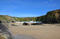 Lusty Glaze beach, Newquay in Cornwall. Lusty Glaze beach in Newquay, Cornwall, UK stock image