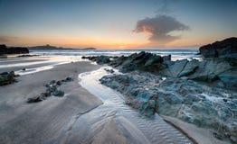 Lusty Glaze Beach. Sunset at Lusty Glaze beach in Newquay, Cornwall stock photography
