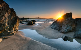 Lusty Glaze. Sunset on Lusty Glaze beach at Newquay in Cornwall Stock Image