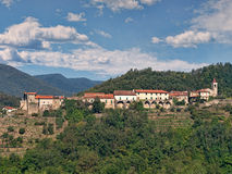 Lusuolo in Lunigiana, Italy. Typical hilltop village. Royalty Free Stock Photo