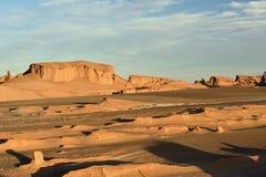 Lut沙漠在克尔曼,伊朗附近位于 免版税库存图片