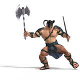 Luta bárbara muscular com espada e machado Imagens de Stock