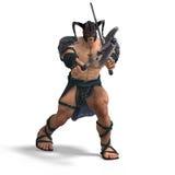 Luta bárbara muscular com espada e machado Fotografia de Stock Royalty Free