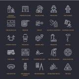 Luta contra o incêndio, linha lisa ícones do equipamento de proteção contra incêndios Sapador-bombeiro, extintor da viatura de in ilustração stock