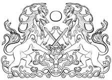 Luta da espada dos animais da fantasia ilustração royalty free
