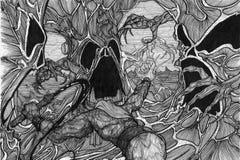 Luta da floresta ilustração royalty free