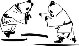 Luta da panda Fotografia de Stock