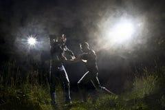 Luta da serra de cadeia Fotografia de Stock Royalty Free