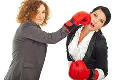 Luta das mulheres de negócio com luvas de encaixotamento Fotos de Stock Royalty Free