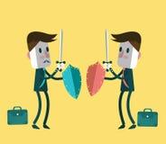 Luta de dois homens de negócios do guerreiro ilustração do vetor
