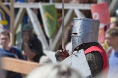 Luta do cavaleiro no festival da cultura medieval Fotografia de Stock
