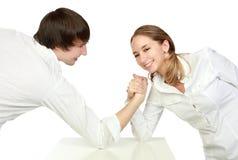 Luta do homem e da mulher fotos de stock