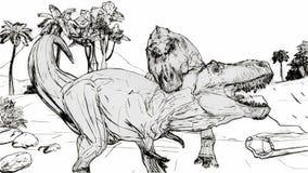 Luta do rex do tiranossauro ilustração do vetor
