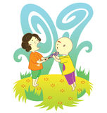 Luta dos miúdos para um lollipop ilustração do vetor