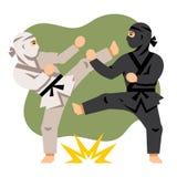 Luta Ninja preto e branco do vetor Ilustração colorida dos desenhos animados do estilo liso Imagens de Stock