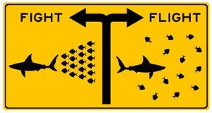 Luta ou voo Imagens de Stock