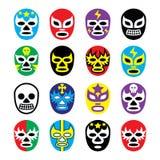 A luta romana mexicana do libre de Lucha mascara ícones ilustração do vetor