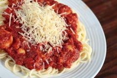 lutad sikt för pasta skaldjur Royaltyfri Bild