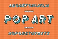 Lutad stilsort för popkonst Retro Sans Serif alfabet Stylized rundade inramad stilsort vektor royaltyfri illustrationer