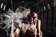 Lutador apto que perfura uma parede de vidro Fotografia de Stock Royalty Free