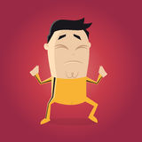 Lutador asiático com clipart amarelo dos desenhos animados do terno de trilha Imagens de Stock Royalty Free