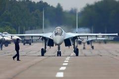 Lutador de jato de Sukhoi Su-35S na base da força aérea de Kubinka durante o fórum Army-2015 Fotos de Stock Royalty Free