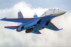 Lutador de jato moderno Su-27 do russo Imagens de Stock