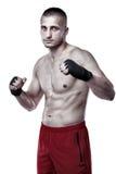 Lutador de Kickbox na posição do protetor Fotografia de Stock