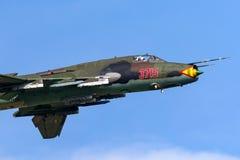 Lutador de Sily Powietrzne Sukhoi Su-22M4 Sukhoi Su-17 da força aérea/aviões de ataque poloneses foto de stock