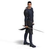 Lutador do estilo da fantasia com espada. Com Pa do grampeamento Fotografia de Stock Royalty Free