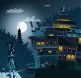 Lutador do kung-fu e vila chinesa antiga no fundo na noite Foto de Stock