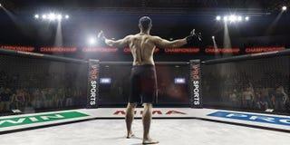 Lutador do Muttahida Majlis-E-Amal na arena que cumprimenta os espectadores, vista traseira foto de stock royalty free