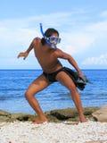 Lutador exótico do snorkel. fotografia de stock