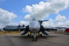 Lutador super do zangão de Boeing F/A-18E/F da marinha dos E.U. na exposição em Singapura Airshow Imagens de Stock